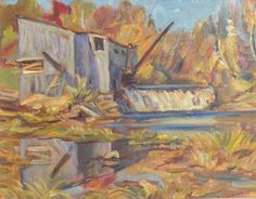 Alexander Young Jackson, 'Sawmill, South Bolton, Que.' at Mayberry Fine Art x Group Of Seven Artists, Group Of Seven Paintings, Franklin Carmichael, Tom Thomson, Emily Carr, Canadian Artists, Quebec, Oil Paintings, Art Work