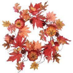 18 in. Fall Pumpkin Maple Leaf Wreath - Wreaths at Hayneedle
