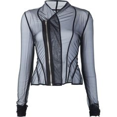 Rick Owens Lilies sheer draped 'Princess' fitted jacket ($528) ❤ liked on Polyvore featuring outerwear, jackets, black, rick owens lilies, drapey jacket, sheer jacket, fitted jacket and drape jacket