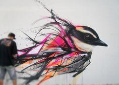 ღღ Bird Street Art by L7m, Brazil