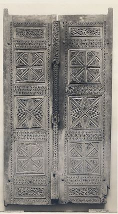 Object Name: Door  Date: dated 1466  Geography: Iran  Medium: Wood (teak); carved This artwork is currently on display in Gallery 455 in the Metropolitan Museum of Art