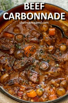 A slow cooked stew, this recipe for beef carbonnade will be a hit at your family dinner table! I use beef short ribs along with mushrooms, carrots and onions which means this tender, slow cooking stew makes the perfect comfort food dish. This version of carbonade is super easy and just needs a side of potatoes to go with it! #chefnotrequired #beef #beefstew #stew #carbonnade #carbonade #shortribs