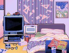 vaporwave bedroom Pixel art More - vaporwave Pixel Art, Habbo Pixel, Vaporwave, Arte 8 Bits, Art Tumblr, 8 Bit Art, Doja Cat, Wallpaper Pc, Computer Wallpaper