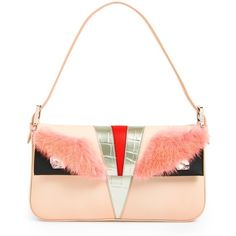 Women's Fendi 'Monster' Leather & Genuine Mink Fur Baguette ($2,320) ❤ liked on Polyvore featuring bags, handbags, colorblock handbags, color block purse, fendi purses, leather bags y fendi bags