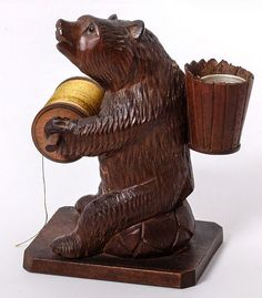 Antique Hand Carved Black Forest Bear Sewing Caddy, Thimble & Thread Holder, Stand