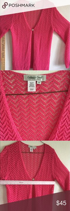Coldwater creek hot pink lightweight crochet top Please see photo for tags and measurement information. Super soft lightweight sheer crochet top with mop mother of pearl button. So nice for chilly summer beach breezes. Never worn Coldwater Creek Tops Blouses
