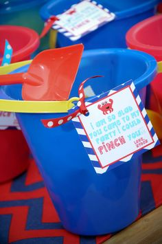Cute party favor buckets: I am so glad you came I could pinch you (crab)