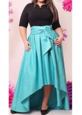Black and Blue High Waist Maxi Dress