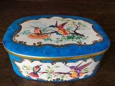 Vintage French Hummingbird turquoise tin box by EnglishShop