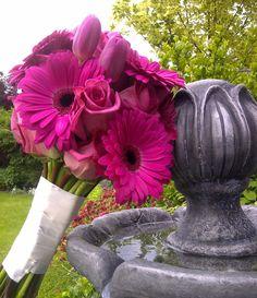 Hot Pink Bridal Bouquet: Roses, Gerberas, & Tulips