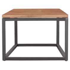 Bring industrial inspiration to your sunroom or den with this stylish end table, showcasing a teak wood top and open steel frame.  P...