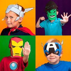 Disfraces de superhéroes, ¡para imprimir gratis! Disfraces de superhéroes para imprimir gratis: imprime gratis las máscaras de superhéroes como Thor, Capitán América, Iron Man y Hulk. Disfraces fáciles para Carnaval.