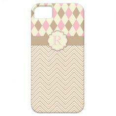 #3 iPhone5 Tan Pink Ivory Diamonds Zigzag Monogram
