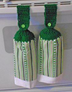 Saint Patrick's Day Crocheted Top Hand Towel - Shamrock Handle top towel set - Irish Granny Kitchen Towel Hand Towel Set by CrochetByIlene on Etsy