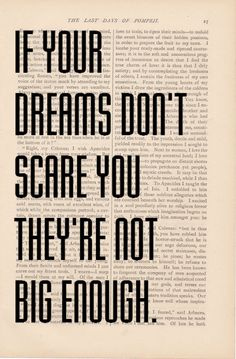 Etsy: motivational quote dictionary art - If Your Dreams Don't Scare You, They're Not Big Enough book page - inspirational quote dictionary art.
