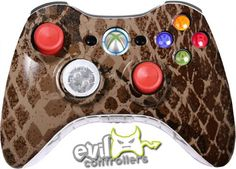 Brown Reptile Xbox 360 Controllers
