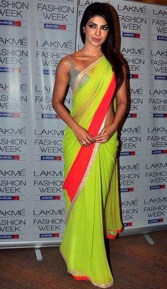 Priyanka Chopra in a Manish Malhotra Neon Saree.