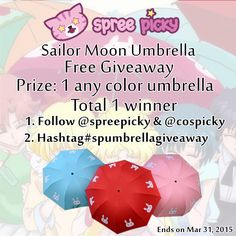#SpreePicky #Giveaway  Please follow @spreepicky and repin this pic :)  Good luck!  #spreepicky #spreepickygiveyaway #spumbrellagiveaway #umbrellagiveaway #sailormoonumbrella #kawaii