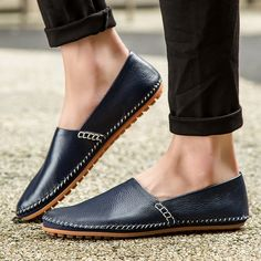 Big Size Men Genuine Leather Driving Loafers Comfortable Slip On Moccasin Shoes - NewChic Mobile.