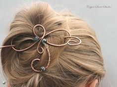 Small Silver Hair Slide Wire Wrapped Swirls, Silver Hair Stick ...