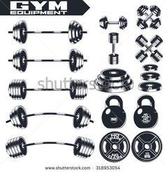 Gym equipment of vintage fitness. Design elements. Emblem, logo, motivation concept. Monochrome style.