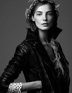 black and white  bohemian rock glamour fashion photography | Vogue Ukraine March 2013 Daria Werbowy black and white