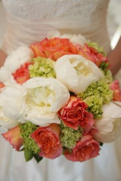 Our wedding colors...love this for a bouquet, coral, green and white!