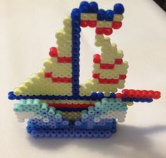 Sailboat perler beads by ForeverJessi