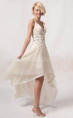 Chiffon Sheath V-neck Short With Beading Ivory Bridesmaid Dresses,red bridesmaid dresses,short bridesmaid dresses