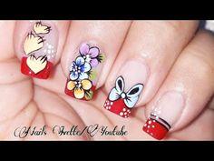 Decoración de uñas con flores, moño y corazones/uñas paso a paso/uñas decoradas con francés rojo - YouTube Makeup Tips, Nail Designs, Nail Art, Make It Yourself, Nails, Floral, Youtube, Nail Colors, Work Nails
