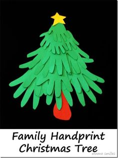 Fun Christmas Crafts: Family Handprint Christmas Tree Trace family members' hands to make this fun Christmas keepsake craft. Tutorial for making a family handprint Christmas tree - with variations. Handprint Christmas Tree, 12 Days Of Christmas, Christmas Crafts For Kids, Christmas Activities, Family Christmas, Simple Christmas, Holiday Crafts, Christmas Holidays, Tree Handprint