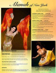 Santa Fe, NM Alanah of NY is returning to Santa Fe to teach and perform! A not-to-be-missed opportunity to study with this acclaimed dance artist!  Zoom flyer for details.  www.alanahbellydance.com w… Click flyer for more >>