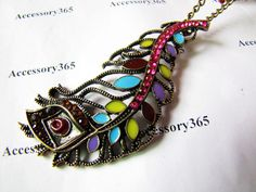 ancient necklace feather sign pandent women chain long necklace