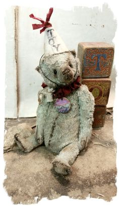 "Image of TOY - Antique Style 7"" Old Blue/Gray Teddy Bear Pouty Face * By Whendi's Bears"