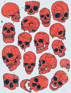 Vintage Halloween skulls for neotraditional tattoos