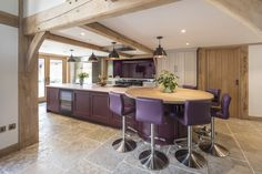 A modern kitchen within a beautiful oak framed house.  #kitchen #oak #modern #purple #oakframe #frame #dream #family #goals
