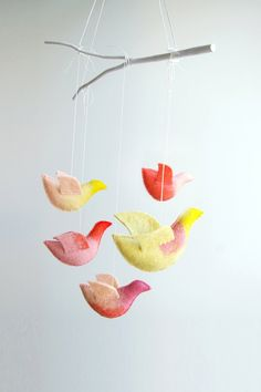 Baby crib mobile - nursery mobile - Birds mobile - yellow pink peach coral - FORWARD THE SUN - made to order. $89,00, via Etsy.