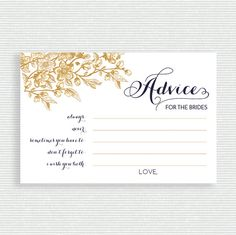 Advice for the Brides Card // Same Sex Bridal Shower