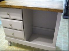 DIY repurposed desk to kitchen island