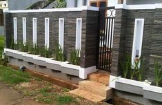 40 Minimalist Wall Fence Models - Speaking of building a house, there are many things that we must pay attention . Compound Wall Gate Design, Fence Wall Design, House Wall Design, Front Wall Design, Exterior Wall Design, Modern Fence Design, Door Gate Design, Decoration Facade, Boundry Wall