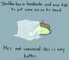 Sheldon trying to help his headache.