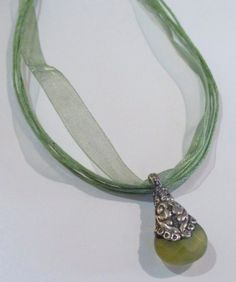 Ribbon Necklace with Green Jade stone pendant by LifeisBalance, $29.00