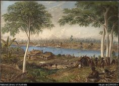 Baines, Thomas, 1820-1875. South Brisbane from the North Shore, Moreton Bay, Australia [picture]