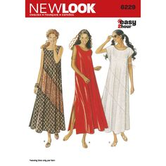 Sewing Dresses Patterns - New Look 6229 MISSES DRESS GREAT summer top, simple! - Patterns - New Look 6229 MISSES DRESS Pattern. Misses' dresses in flowing sleeveless or cap sleeve styles with diagonal piecing option. New Look sewing pattern. Dress Sewing Patterns, Sewing Patterns Free, Clothing Patterns, Summer Dress Patterns, Free Sewing, Maxi Dress Sewing Pattern, Sewing Men, Easy Patterns, Pattern Sewing