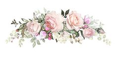 composition of flowers pink rose, Leaf and buds. Cute illustration for wedding or greeting card. branch of flowers isolated on white background - Buy this stock illustration and explore similar illust Flower Pattern Drawing, Flower Patterns, Illustration Blume, Cute Illustration, Flower Svg, Flower Crown, Watercolor Images, Watercolor Flowers, Flower Artists