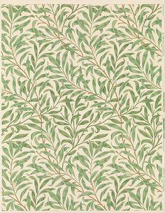 'Willow Bough.' Block-printed wallpaper designed 1887 by William Morris.