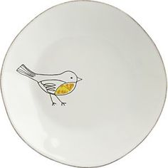 Line drawing bird on a plate - I love this little fella!