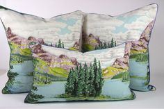Love Frances Woods pillows.  Need these for my future cabin - the other side is plaid!