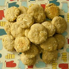 Apple Oatmeal Dog Cookies - INGREDIENTS: 1 C. of Instant Oatmeal (approx. 3 packets) 1 Tsp. Baking Powder 1 1/2 C. White Whole-Wheat Flour 1 Egg 1 C. finely chopped sweet 16 apples (approx. 2 small/medium apples) 2 Tbsp. Olive Oil 1/2 C. Water