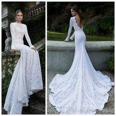 New Collection Berta Slim Fit White Long Sleeve Mermaid Wedding Dresses With Attractive Chapel Train Backless Lace Elegant Bridal Gown 2014